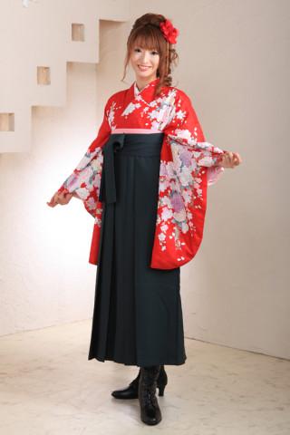 No.1038 赤地バラ柄&深緑袴フルセット