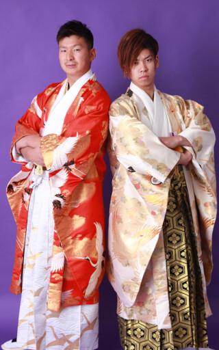 No.990 男子成人式 着物地オリジナル羽織袴フルセット