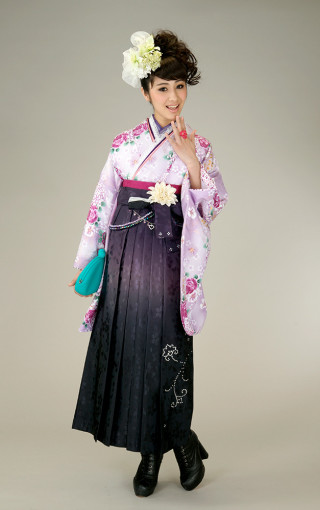 No.5273 柄入り袴(紫)