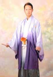 紫ぼかし 羽織袴セットの衣装画像1