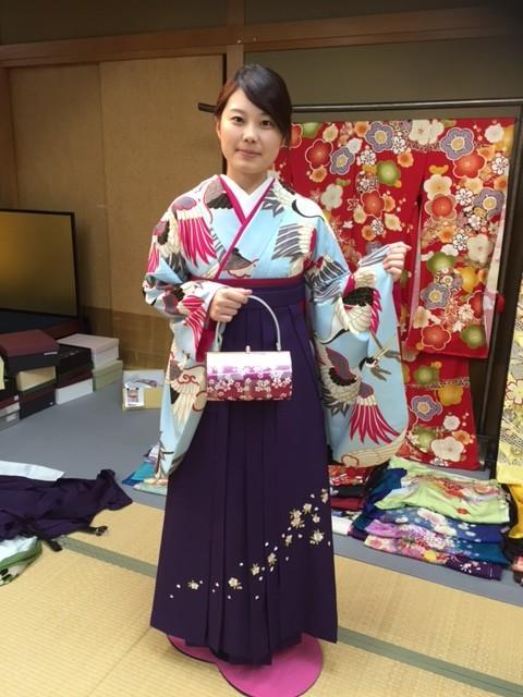 新橋色に鶴柄の衣装画像1