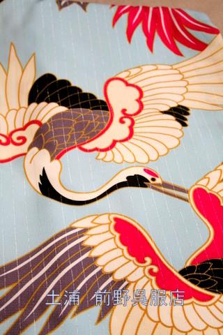 新橋色に鶴柄の衣装画像2