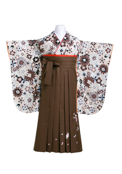 落ち着いた色合いの花尽くし柄の着物に刺しゅう入り茶の袴の衣装画像1