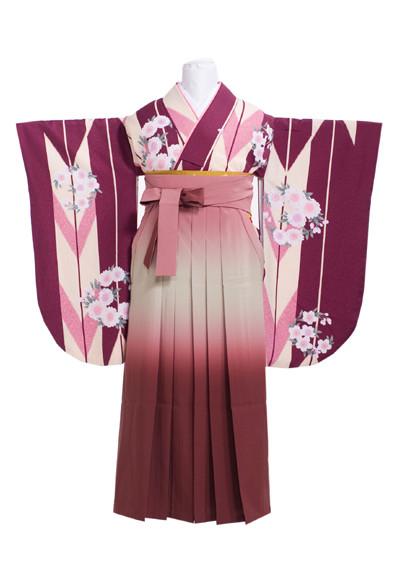 紫、大きい矢絣模様に桜の衣装画像1