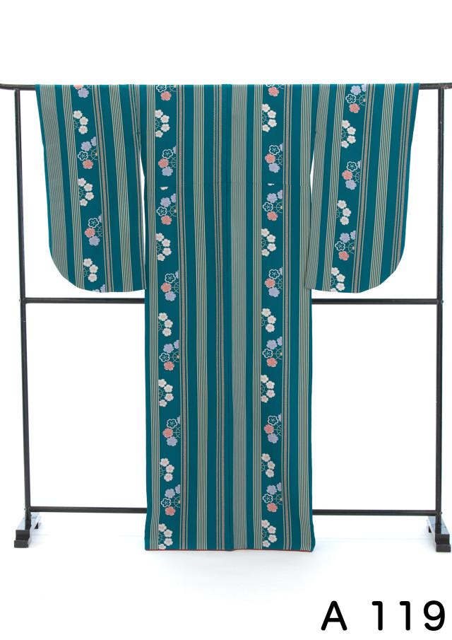 緑に縞模様がおシャレな2尺袖の衣装画像1