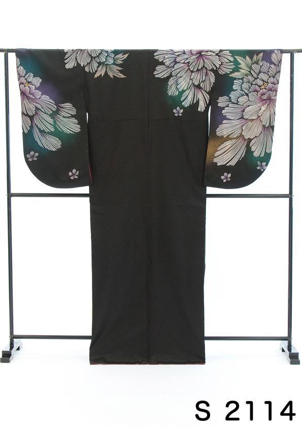 黒地にラメ入り綺羅びやか2尺袖の衣装画像1