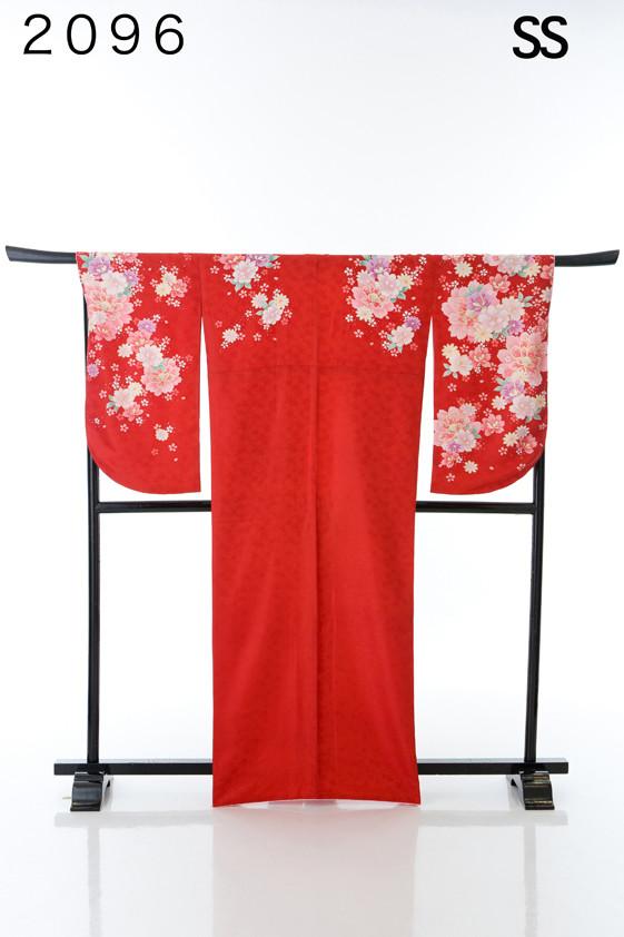 真っ赤な定番の花柄二尺袖の衣装画像1