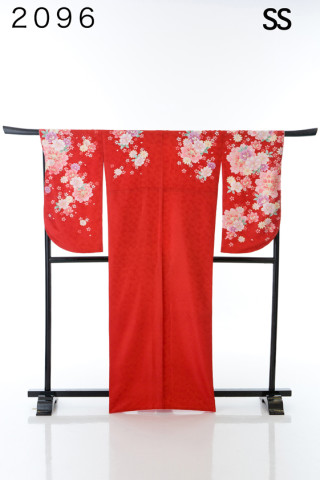 No.2103 真っ赤な定番の花柄二尺袖