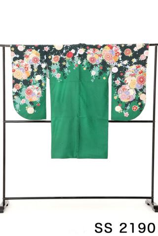 No.2104 緑地の古典花柄二尺袖
