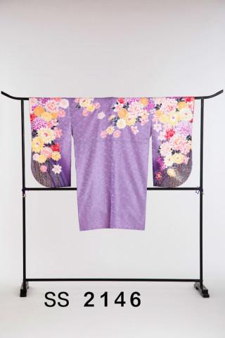 No.2109 淡い紫の花柄二尺袖
