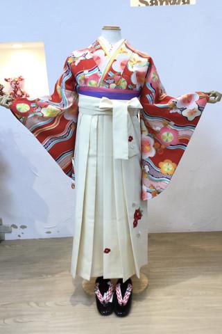 No.5305 梅柄二尺袖×白椿刺繍袴