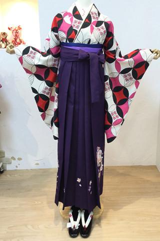 モダン二尺袖×紫刺繍入り袴