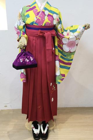 No.5308 黄色梅柄二尺袖×ピンク椿柄袴