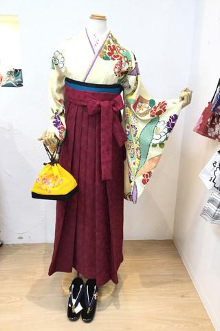 No.5310 椿柄二尺袖×桜柄袴
