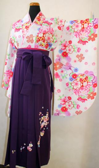 No.1688 紫刺繍袴&白地きもの