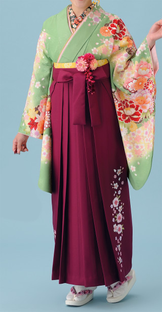 No.1689 ワイン刺繍袴&グリーンきもの