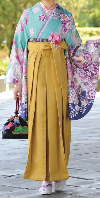No.1690 やまぶき色袴&グリーン着物