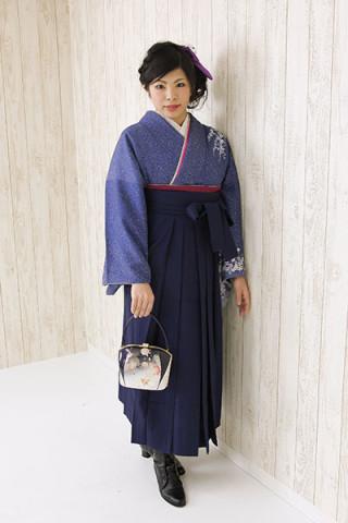 No.1747 【小振袖】紺地 【袴】紺地