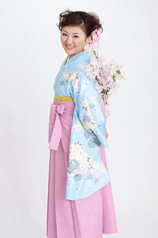 No.1755 【小振袖】水色地・花柄 【袴】ピンク地