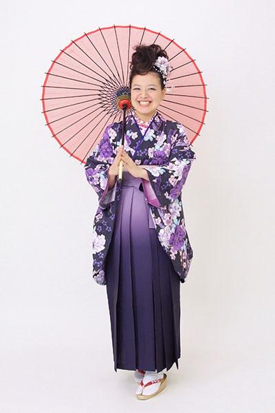 【小振袖】紫地・花柄 【袴】紫地の衣装画像1