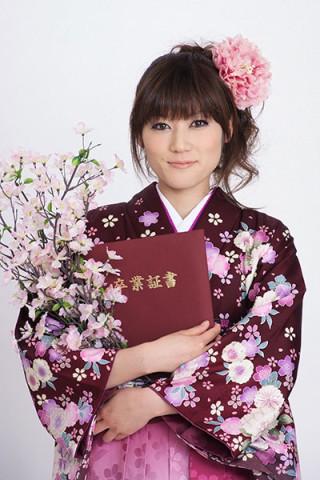 【小振袖】赤地・花柄 【袴】ピンク地・小紋柄