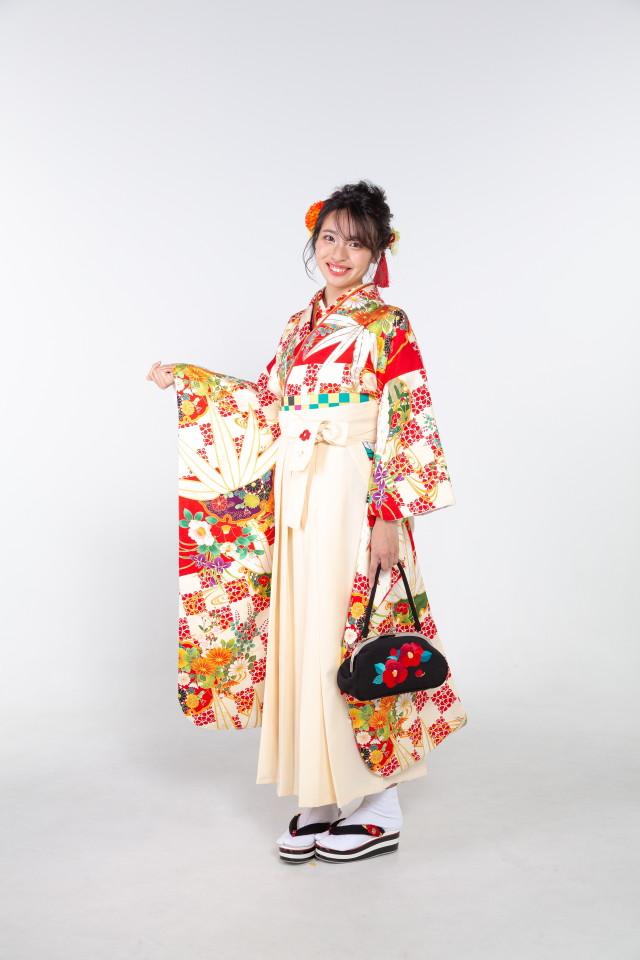 赤の市松に笹の衣装画像1