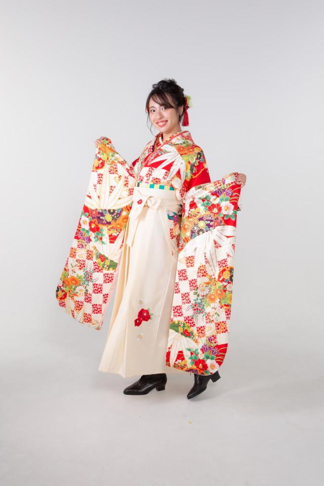 赤の市松に笹の衣装画像3