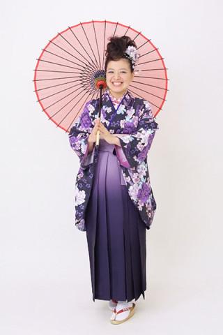 【小振袖】紫地・花柄 【袴】紫地