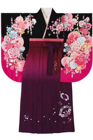 No.759 黒地にハートバラ柄着物&ぼかし赤紫地のチェリー花柄袴