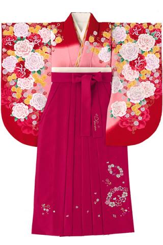 No.760 赤×ピンクのバラ柄着物&ベリーピンク地のチェリー花柄袴