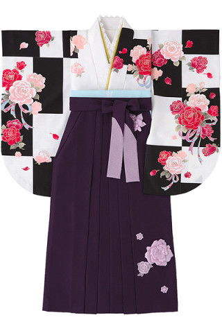 No.765 白×黒地のバラと市松柄着物&立体的な花付き紫地袴