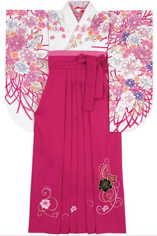 No.769 清楚な白地に豪華な花柄着物&ベリーピンク地のベロアバラ刺繍袴