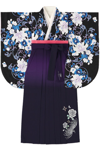 No.771 黒地の百合柄着物&ぼかし紫地のバラ柄袴