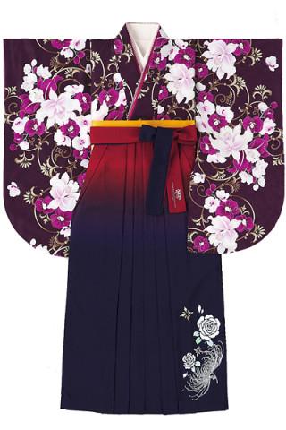 No.773 紫地のエレガント百合柄着物&赤と紺のぼかしバラ柄袴