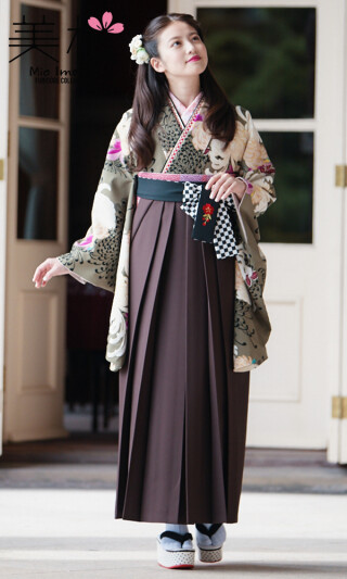 No.6061 今田美桜着用の2尺袖きもの 茶/白