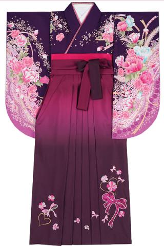 No.832 紫地の華やか花柄着物&ワインぼかしのスパンコールリボン刺繍袴