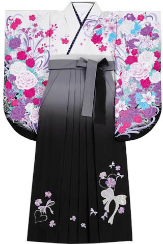 No.835 クールな白地バラ柄着物&黒地ぼかしのスパンコールリボン刺繍袴