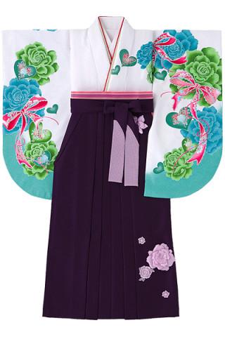 No.836 爽やか配色の白地バラ柄着物&立体的な花付き紫地袴