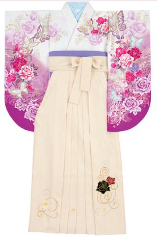 No.838 白地紫ぼかしのバラと蝶柄着物&白地のベロアバラ刺繍袴