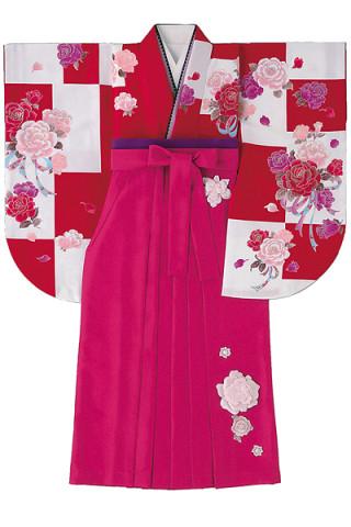 No.840 白×赤市松バラ柄着物&立体的な花付きベリーピンク袴