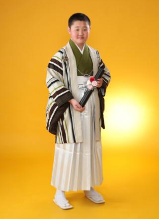 No.4034 ジュニアサイズ男の子 羽織袴 九重(白)