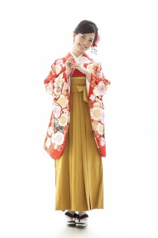 No.3885 赤の梅柄卒業袴コーデ