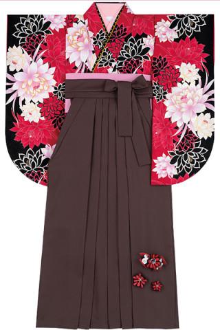 No.4596 赤×黒の花柄着物&茶色地の花飾り付き袴
