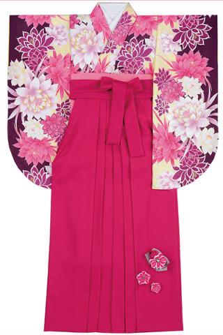 No.4601 黄色&紫地のオリエンタルチックな花柄着物&ベリーピンク地の飾り付袴