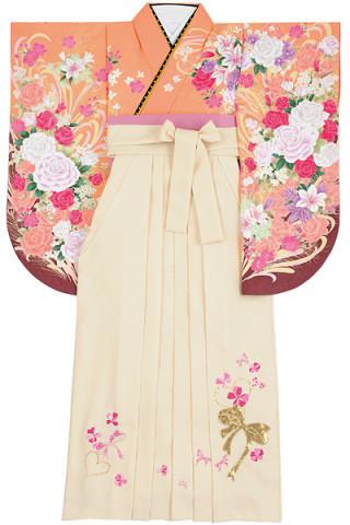 No.4604 愛されオレンジのフェミニンバラ柄着物&白地スパンコール リボン刺繍