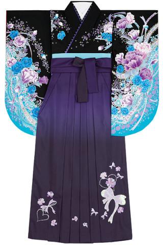 No.4605 黒地ブルーカラーの花柄着物&紫地ぼかしのスパンコールリボン刺繍袴