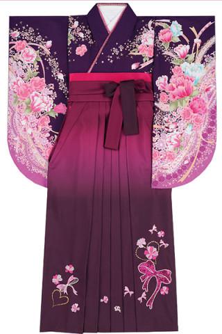 No.4606 紫地の華やか花柄着物&ワインぼかしのスパンコールリボン刺繍袴