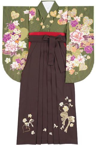 No.4607 抹茶色ストライプ着物&茶色地スパンコールのリボン刺繍袴