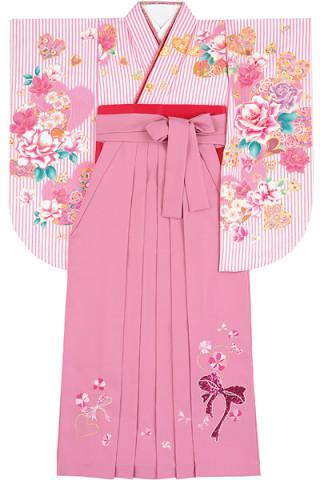 No.4608 ピンクストライプ着物&ピンク地スパンコールのリボン刺繍袴