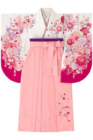 No.4615 白×ビビットピンクのハート柄着物&ピンク地のチェリー花柄袴
